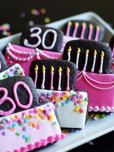 Chocolate Peanut Butter Cut-out Cookies / 30th birthday cookies