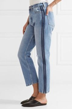 M.i.h Jeans - Jeanne Cropped Striped Straight-leg Jeans - Mid denim -