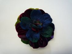 "2.5"" Special Hand-Dyed Velvet Flower Pin with gorgeous coloring"