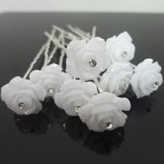 200pcs/lot Free Shipping White Crystal Rose Flower Hair pins. Bride Party Woman Hair jewelry. Girls Hair Accessories. New Style $34.47