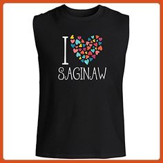 Idakoos - I love Saginaw colorful hearts - US Cities - Sleeveless T-Shirt - Cities countries flags shirts (*Partner-Link)