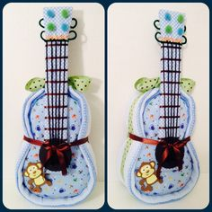 Guitar Diaper Cake. www.finediapercakes.com Guitar Diaper Cakes, Monkey Diaper Cakes, Nappy Cakes, Baby Shower Diapers, Baby Shower Cakes, Baby Shower Gifts, Baby Event, Candy Gifts, Our Baby