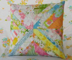 Handmade quilted pillow cover - vintage sheets