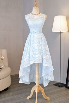 Light blue lace round neck high low halter prom dress, bow homecoming dress,114