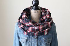Black and Red Plaid Scarf Infinity Scarf by frecklefacemonday Red Plaid Scarf, Plaid Infinity Scarf, Loop Scarf, Circle Scarf, Chunky Scarves, Womens Scarves, Winter, Womens Fashion, Black