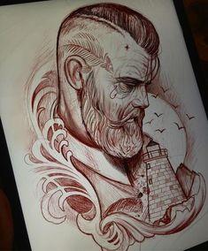 Neo Tattoo, Tatto Old, Tattoo Sketches, Tattoo Drawings, Art Drawings, Tattoo Studio, Beard Art, Face Sketch, Tattoo Illustration