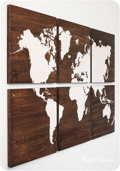 World Map Large Painting on Walnut Wood Panels - Customizable Christmas Gift…