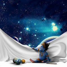 Lord Krishna Playing with Universe Krishna Radha, Hare Krishna, Krishna Lila, Iskcon Krishna, Little Krishna, Krishna Statue, Radha Krishna Images, Krishna Pictures, Krishna Drawing