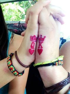 Hand king and queen matching couple tattoos