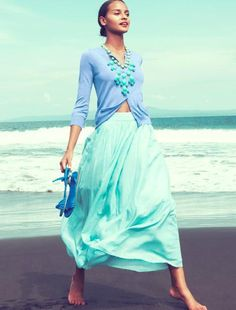 16 Maxi Skirt Trends. Love the color combination from the water and sky at the beach.