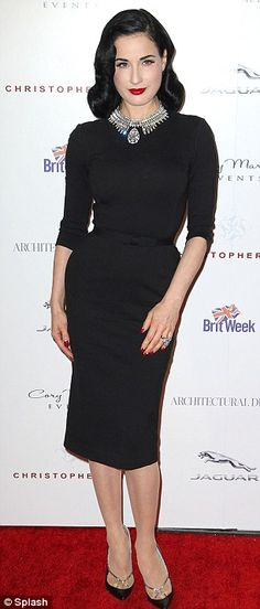Fine details: Dita paired her outfit with black and silver strapped pointy heels