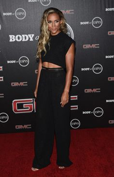 Lolo Jones Wide Leg Pants - Lolo Jones teamed her top with matching black wide-leg pants.