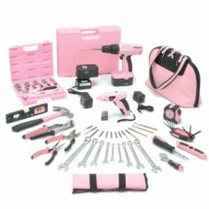 The Essential Little Pink® Tool Kit with New Little Pink® Cordless Screwdriver Pink Tool Box, Pink Car Accessories, Tools For Women, Wrench Set, Socket Set, Everything Pink, Cool Things To Buy, Stuff To Buy, Tool Set
