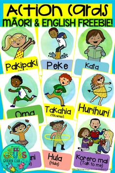 ~FREE PRINTABLE~ Action Cards in Te Reo Māori & English {Green Grubs Garden Club Blog}