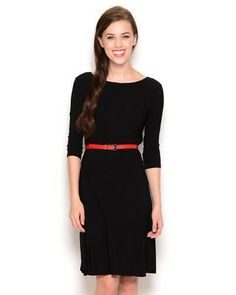 """Size: Anne Klein 3/4-Sleeved Belted Dress original brand name Anne Klein item Apparel product type Dress made in PHILIPPINES Care Instructions dry clean Condition brand new Gender women Material 95% polyester, 5% elastane Neck Type scoop neck Sleeves 3/4 sleeves size 14"""