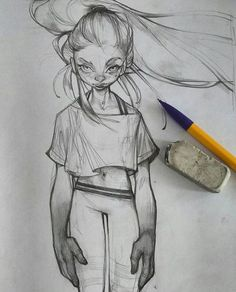 Mindlessly doodling to M83. #art #illustration #sketchbook #sketch #pencil #girl