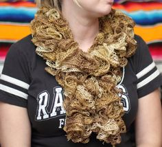 Golden Crochet Scarf Gold Scarf Ruffle Scarf Frilly by kidalia