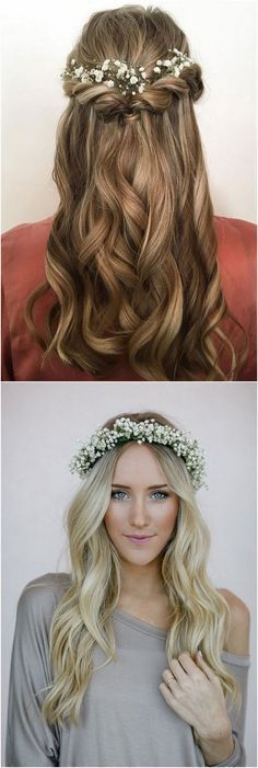 Wedding Inspiration: long wedding hairstyles with baby's breath.