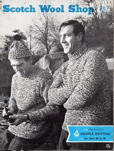 "vintage mens polo neck or crew neck sweater Knitting pattern PDF mens jumpers cap knitted double yarn 38-48"" DK light worsted 8ply Download by coutureknitcrochet on Etsy"