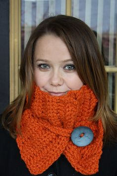 Chunky Crochet Cowl with big button - in brick orange. $33.00, via Etsy.