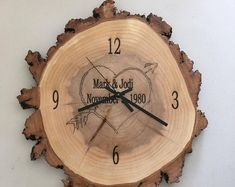 CLOCK inch x 1 inch) Willow Wood Slice with Personalized Engraving Lathe Projects, Wood Turning Projects, Wood Projects, Wood Craft Supplies, Pecan Wood, Willow Wood, Wood Oil, Rustic Art, Wood Clocks