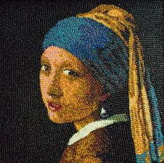 "Illusion: Using plenty of Jelly Beans, painter Kristen Cumings has recreated famous masterpieces such as ""Girl with a Pearl Earring,""  ""Mona Lisa,"" ""Young Blonde Girl,"" and more. See also: ""Ballooned Fine Art,"" and ""Famous Paintings made from Veggies and Fruit.""    (Image © Kristen Cumings)    http://illusion.scene360.com/art/29204/classic-paintings-replicated-in-jelly-beans/"