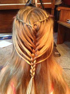 Waterfall twist into mermaid braid