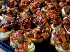 Roasted Red Pepper and Olive Bruschetta