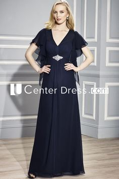 54646e6df69 V-Neck Poet Sleeve Jeweled Chiffon Mother Of The Bride Dress With Draping