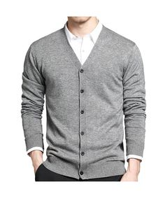 ff7f73abe3 Men s Basic Long Sleeve Button Down V Neck Knitted Cardigan - Grey -  CU12L8VO5NT