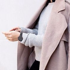 Pink Coat + Gray Sweater + Black Watch