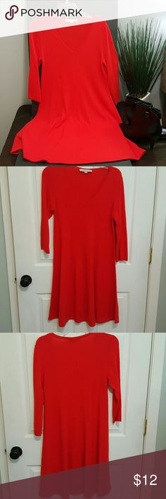 """Loft  sweater dress. Small Acrylic and nylon fabric.  Machine wash. .super cozy ,3/4 sleeve, 27"""" from armpit to hem.  Will fall to knees. Nice orange paired with belt scarf. Any accessories will dress up or wear casual.  In good used shape LOFT Dresses"""