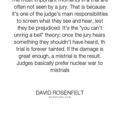 """David Rosenfelt - """"The most important moments in a trial are often not seen by a jury. That is because..."""". law, trials"""