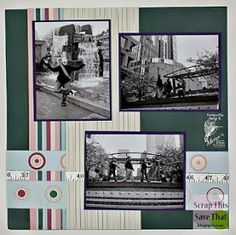 Scrap This, Save That: Page 1 of My Family double page scrapbook layout featuring Mark's Finest Paper's stamps.
