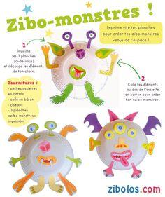 Natacha Seret - ZIBOLOS.COM: ZIBOLOS : Les Monstres de l'espace Dream Team, Centre, Animation, Education, Crafts, Aliens, Deco, Monsters, Crafting