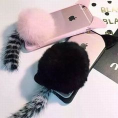Soft TPU Phone Back Cover With Fur Ball Tail For iPhone 6/6S/6Plus/6SPlus