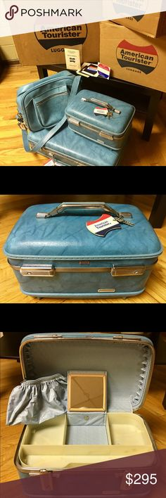"1960's American Tourister 3 pc Luggage w/all keys Gorgeous vintage American Tourister 3 piece luggage from the 60's. 24"" Ladies Pullman Suitcase. 14"" Traincase. 16"" Shoulder Tote. The color is labeled as Tannery Blue which is a beautiful robin's egg blue with marbling throughout it. Comes with ALL KEYS. 2 keys for each piece of luggage. Also comes with original boxes and paperwork. Was purchased in Pittsburgh, PA at Horne's department store which is now defunct.  💁🏼💖Travel in style…"
