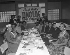 """Elect Mary Tinglof for Board of Education"" meeting. Tinglof Smith was first elected to the Los Angeles Board of Education in 1957. She was a member of the NAACP and an early proponent of school desegregation in the city. Charles Williams Collection.  Institute for Arts and Media Photographs."