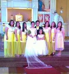 With the bridemaids..