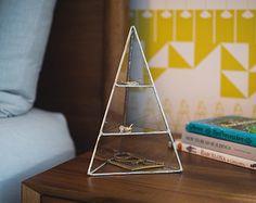 NEW Lyra Pyramid Display Box, medium - glass pyramid - jewelry box - hinged - silver or copper - eco friendly