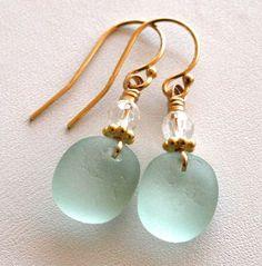Sea Glass Jewelry Aqua Earrings Quartz