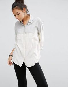 Рубашка бойфренда из саржи в стиле колор блок ASOS
