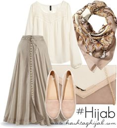 Hijab Outfit Style white cream pastel