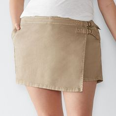 Plus Size SONOMA Goods for Life™ Faux-Wrap Twill Shorts, Women's, Size: 18 W, Lt Green