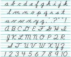 Learning to write script - Penmanship was graded!!