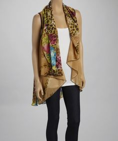 Another great find on #zulily! Taupe & Green Jungle Sleeveless Open Cardigan by Adore #zulilyfinds