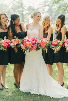 hot pink bouquets with little black dresses | Sarah McKenzie