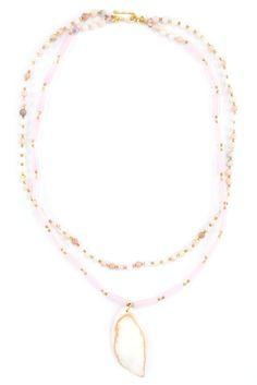 Chan Luu - Pink Opal Pendant Double Strand Necklace, $195.00 (http://www.chanluu.com/necklaces/pink-opal-pendant-double-strand-necklace/)