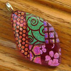 Dichroic Fused Glass Pendant  Pink Fused Glass Jewelry by GlassCat, $24.50