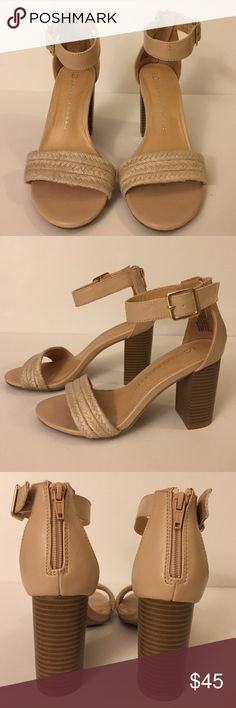 LC Lauren Conrad Blush Nude Block Heel Sandals 6 Gently worn one time. There is a small mark on the strap of the left shoe (came from the store this way). Otherwise in great condition. Blush nude sandals. Block heels. Size 6. Fits true to size. Heel 3.5in. LC Lauren Conrad Shoes Sandals